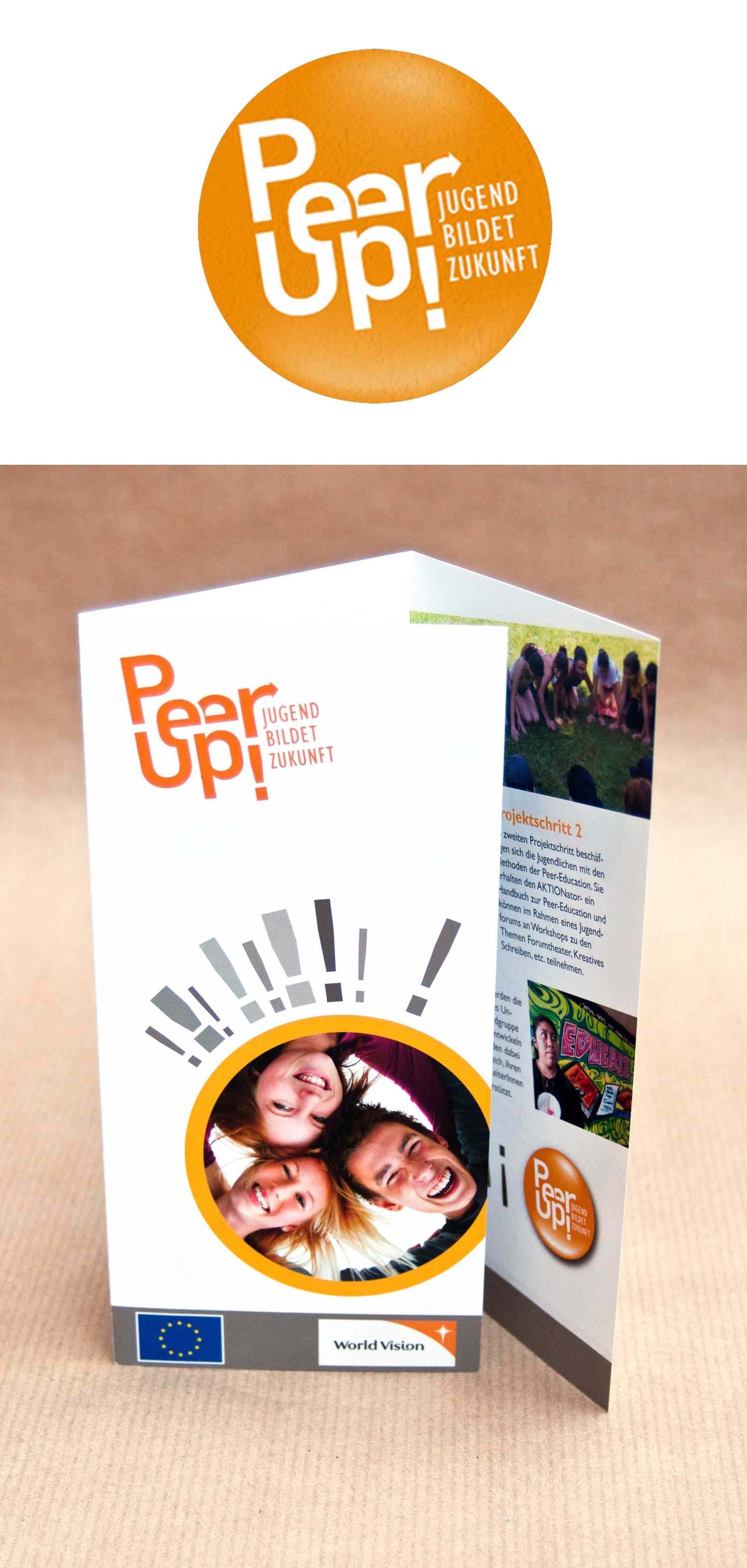 peer up! logo und folder
